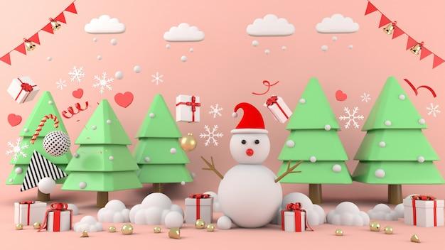 クリスマス、クリスマスツリーと3 dレンダリングシーン表彰台に立っている雪だるま。 -3dイラストレーション
