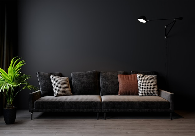 モダンなリビングルームのインテリアの背景、暗い壁、スカンジナビアスタイル、3 dイラストレーション。 3dレンダリング