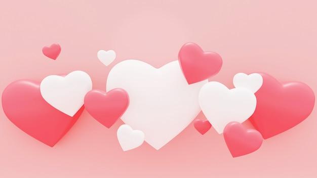 ピンクの背景にピンクと白の心の3 dレンダリング図。バレンタインデー-3dレンダリング