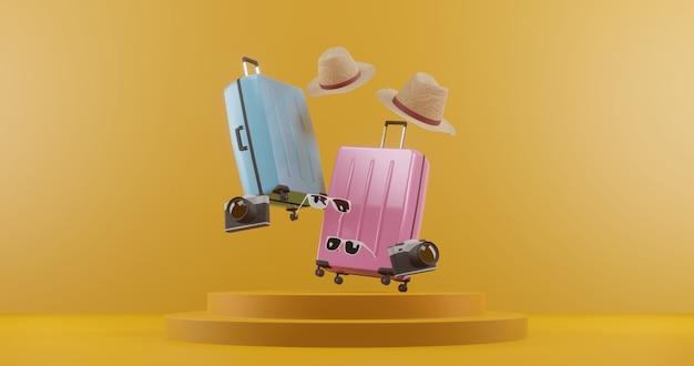 旅行者の付属品が付いている3 dイラストスーツケース。旅行のコンセプト。 3dレンダリング