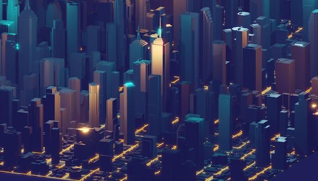 ホログラムの未来的な3 d都市ネオンライトをレンダリングします。 3dレンダリング