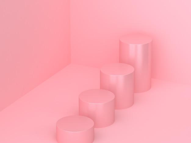 3 dレンダリングステップ4シリンダー幾何学的形状の最小限の抽象的な壁コーナー
