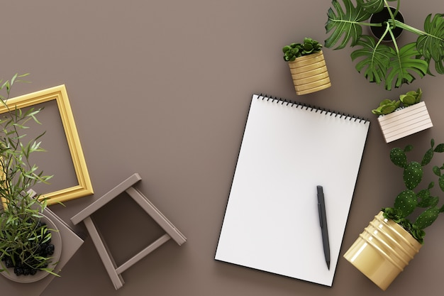 黒いクリップボード鉢植え植物サボテンフレームと茶色の3 dレンダリングにペンで白いa4のトップビュー紙