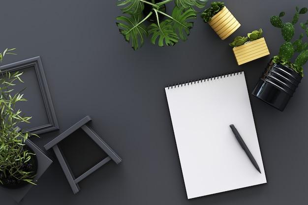 黒いクリップボード鉢植え植物サボテンフレームと灰色の3 dレンダリングのペンと白いa4反転紙のデザインコンセプトトップビュー