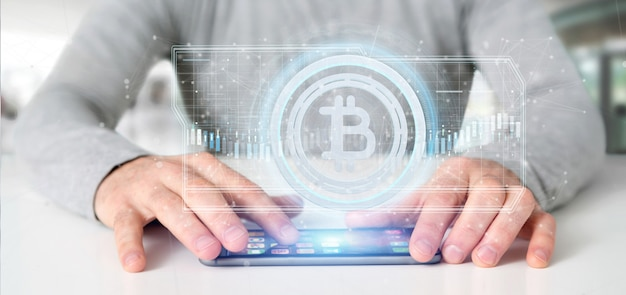 サークル3 dレンダリングの技術bitcoinアイコンを持って男