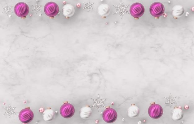 クリスマスクリスマスボール、白い大理石の石の背景に雪の結晶を3 d装飾枠。クリスマス、冬、新年。フラット横たわっていた、トップビュー、copyspace。