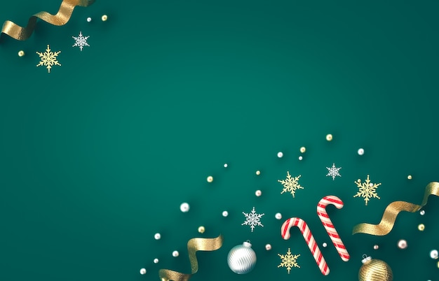 キャンディケイン、クリスマスボール、緑の背景に雪の結晶をクリスマス3 d装飾組成物。クリスマス、冬、新年。フラット横たわっていた、トップビュー、copyspace。
