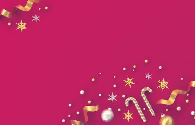 キャンディケイン、クリスマスボール、赤の背景に雪の結晶をクリスマス3 d装飾組成物。クリスマス、冬、新年。フラット横たわっていた、トップビュー、copyspace。
