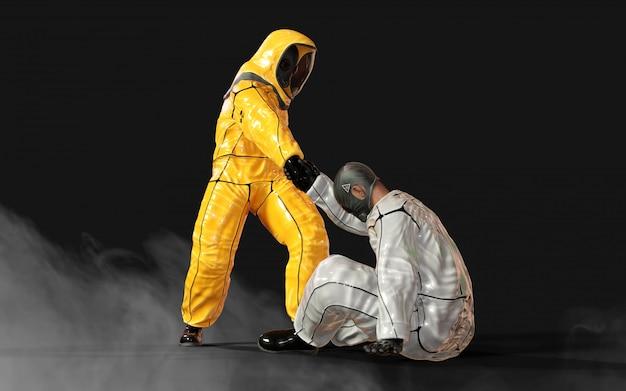 3 dイラストレーションの男性、ウイルス保護バイオハザードの黄色と白のスーツで、コロナウイルスやcovid-19の発生状況でお互いを助け、暗い背景にクリッピングパスで分離