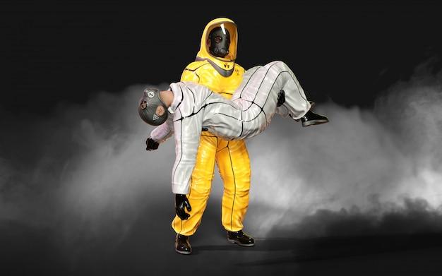 3 dイラストレーションマン、ウイルス保護バイオハザードスーツで、コロナウイルスを停止するマスクを着用またはクリッピングパスと暗い背景にcovid 19の発生。