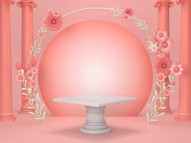 3 dレンダリング高級化粧品スタンドdisplay.pink表彰台は、ローマと花のデザインと化粧品の背景を飾る。