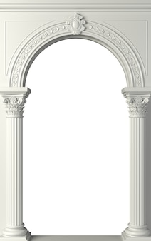 3 d illustration. antique white colonnade with corinthian columns. three arched entrance or niche.