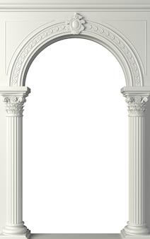 3dイラスト。コリント式の柱のあるアンティークの白い列柱。 3つのアーチ型の入り口またはニッチ。