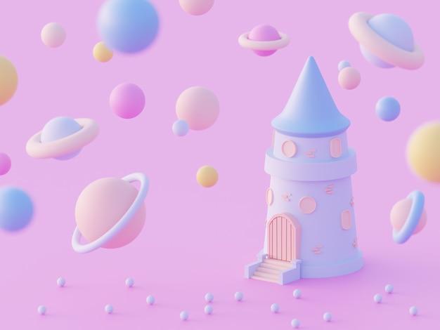 さまざまな惑星、ピンクの背景に未来的なコンセプトを持つ宇宙銀河の3dイラスト漫画の城の塔。