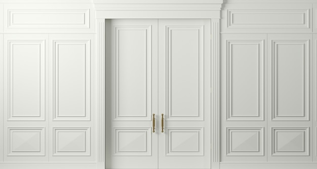 3 d illustration. closed classic white doors with carvings. interior design. background