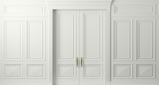 3d 그림. 조각으로 고전적인 흰색 문을 닫았습니다. 인테리어 디자인. 배경