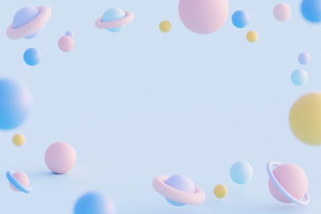 3 d иллюстрации космическая галактика с разными планетами, футуристическая концепция на синем фоне.