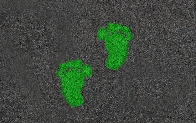 草の上の足跡。エコロジーコンセプトアート3 d illustration
