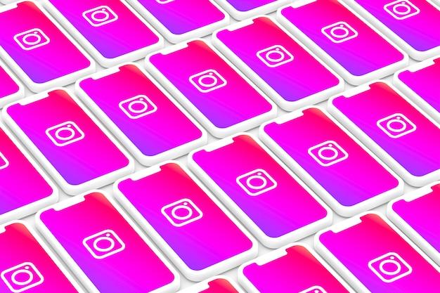 画面のスマートフォンやモバイルの3 dレンダリングにinstagramのシンボル