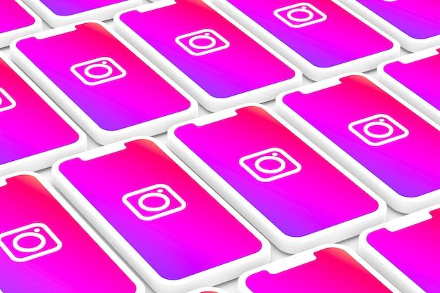画面のスマートフォンやモバイルの3 dレンダリングにinstagramのロゴの背景