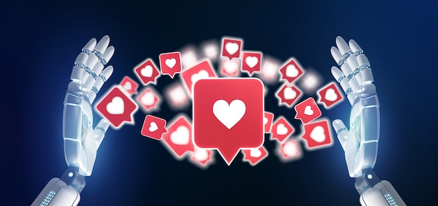 ソーシャルメディアの3 dレンダリングにlike通知を持っているサイボーグ手