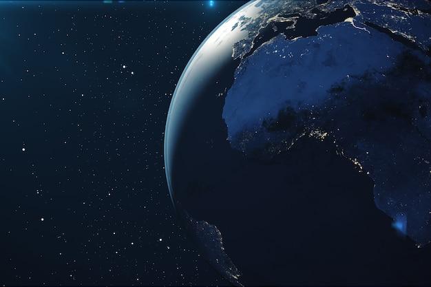 夜の宇宙からの3 dレンダリングの惑星地球。 nasaから提供されたこの画像の要素と地形を示すスターフィールドの宇宙からの地球儀。