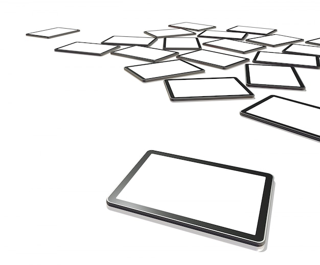 3 dテレビ、クリッピングパスを画面で白で隔離されるデジタルタブレットpc
