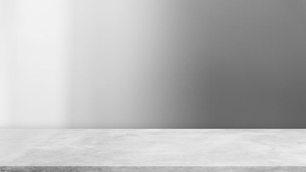 3 d рендеринг пустой серой цементной стены комната студии фон и бетонный пол полка дисплей продукт