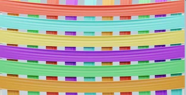 カラフルなレインボー生地パターン背景、3 dのレンダリング