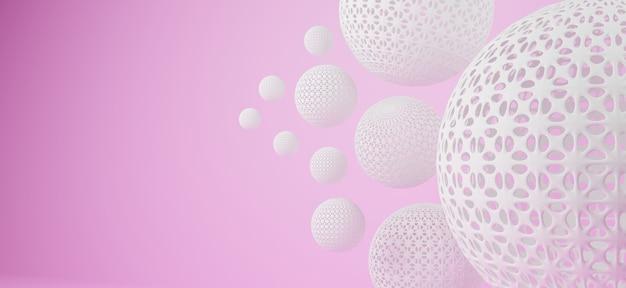 ピンクの背景のパターン穴と3 dの抽象的な幾何学的な球形
