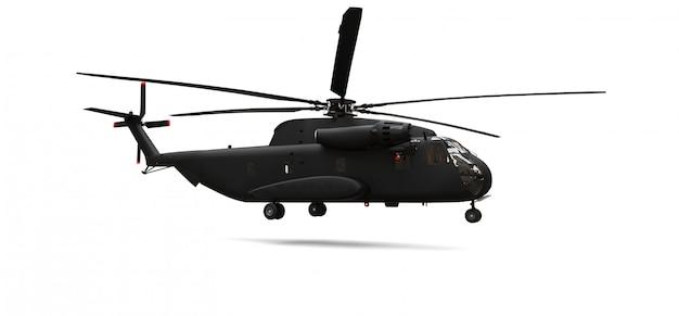 白い背景の上の軍事輸送または救助ヘリコプター。 3 dイラスト。