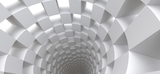 あなたのデザインの抽象的な背景としての長い白いトンネル。 3 dイラスト。