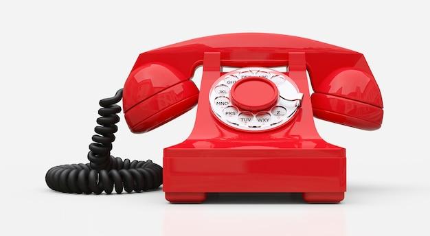 白い背景の上の古い赤いダイヤル電話。 3 dイラスト。