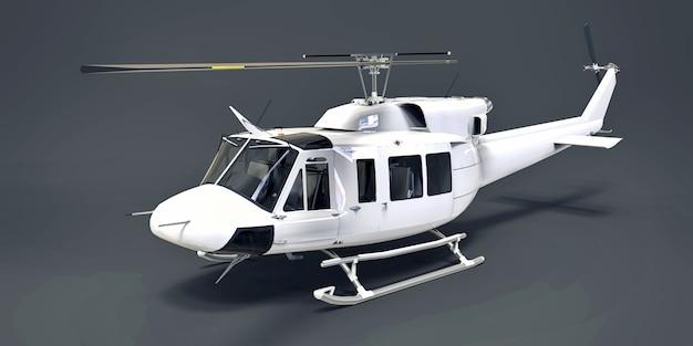 灰色の孤立した背景に白い小さな軍用輸送ヘリコプター。ヘリコプター救助サービス。エアタクシー。警察、消防、救急車、救助サービス用のヘリコプター。 3 dイラスト。