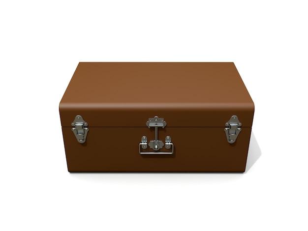 絶妙な留め金が付いた茶色の革のスーツケース。何世紀も昔の伝統を持つクラシックなプレミアムデザイン。ビンテージスタイルのモダンな新製品。 3 dイラスト。