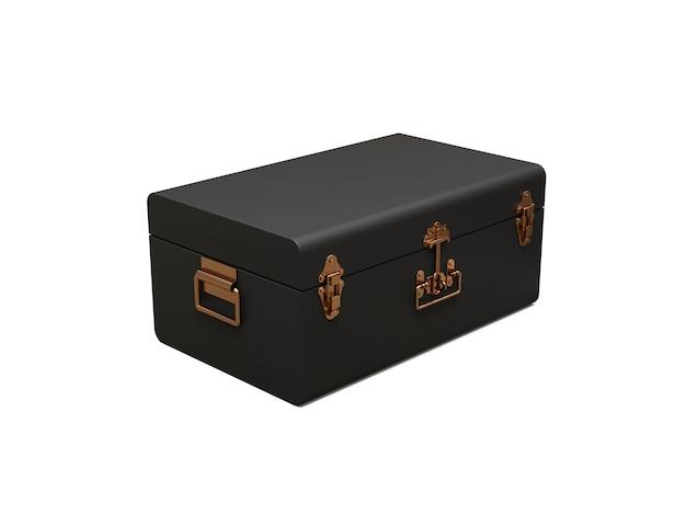 絶妙な留め金が付いた黒革のスーツケース。何世紀も昔の伝統を持つクラシックなプレミアムデザイン。ビンテージスタイルのモダンな新製品。 3 dイラスト。