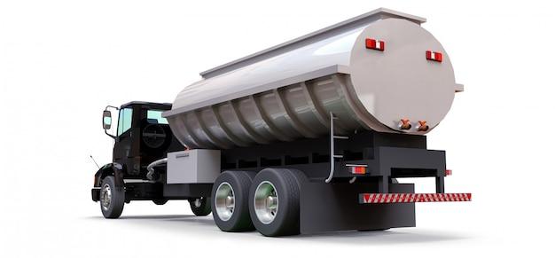 磨かれた金属製のトレーラーを備えた大型の黒いトラックタンカー。あらゆる側面からの眺め。 3 dイラスト。