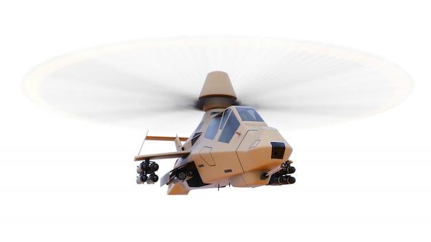 白い背景の上の武器の完全な補完で飛行中の近代的な軍のヘリコプター。 3 dイラスト。