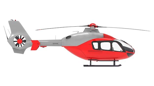 白い背景で隔離赤いヘリコプター。 3 dイラスト。