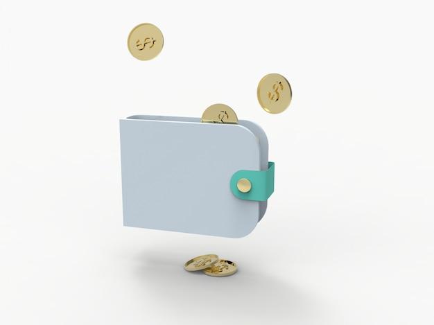 財布、クレデンカード、コインドルの3 dレンダリング図