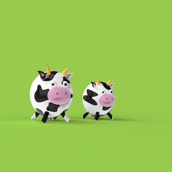 かわいい牛の3 dイラストレーション