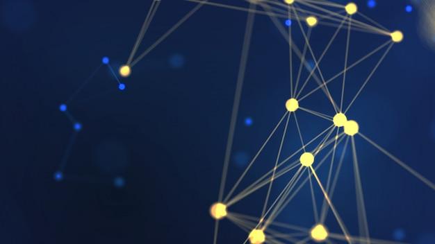 ワイヤフレームネットワークを飛んで、青い背景にドットスペースを接続する3 dレンダリング抽象的な黄色のジオメトリ