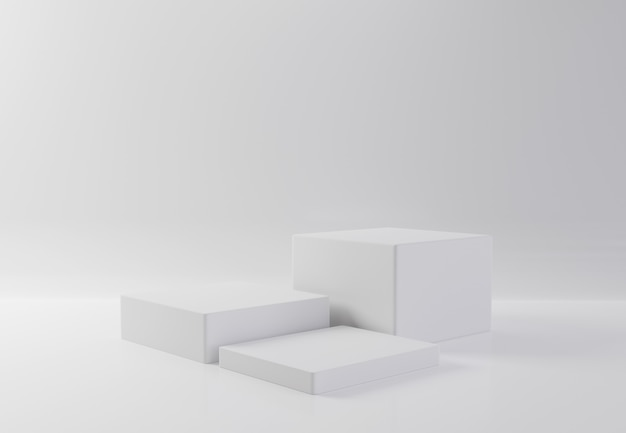 分離の背景に白い長方形のキューブ製品ショーケーステーブル。抽象的な最小限の幾何学の概念。スタジオ表彰台プラットフォーム。展示会・ビジネスプレゼンテーションステージ。 3 dイラストレンダリンググラフィック