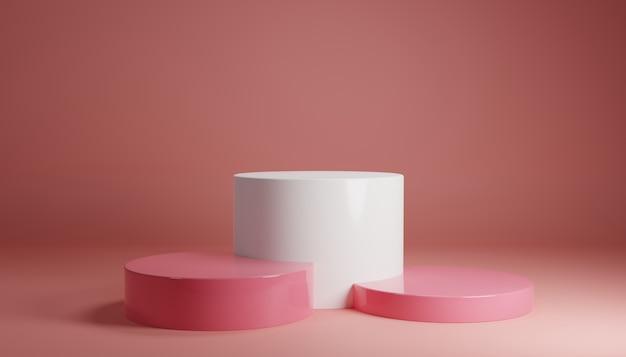白ピンクのパステル製品が背景に立っています。抽象的な最小限の幾何学の概念。スタジオ表彰台プラットフォームのテーマ。展示会ビジネスマーケティングプレゼンテーションステージ。 3 dイラストレンダリンググラフィックデザイン