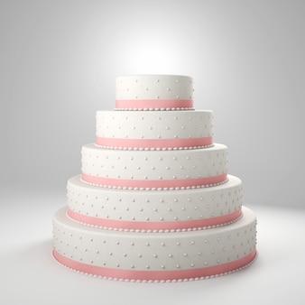 白いウェディングケーキの3 d背景