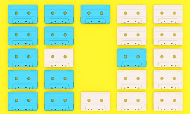 ビンテージオーディオテープのグループの3 dレンダリングの背景