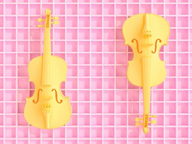 ピンクの幾何学的な3 d背景、フラットレイに黄色のバイオリン