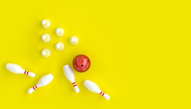 ボウリング、ボール、スキットルズと黄色の背景に3 dのレンダリング画像
