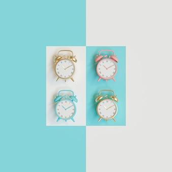 異なる色の紙の上の一連の目覚まし時計の3 d画像レンダリング