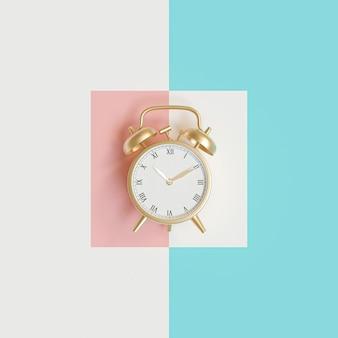 異なる色の背景上の時間色目覚まし時計の3 dイメージレンダリング